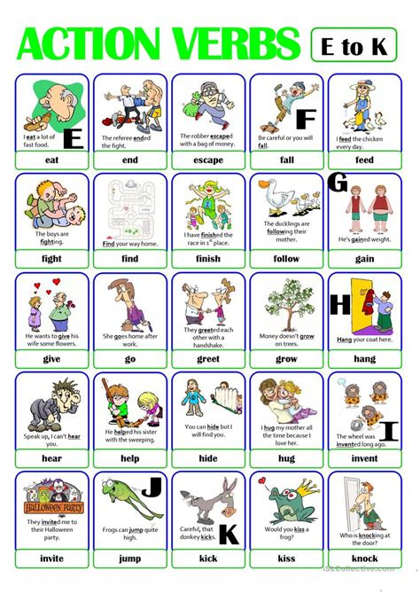 Pictionary  Action Verb Set (2)  From E To K Worksheet