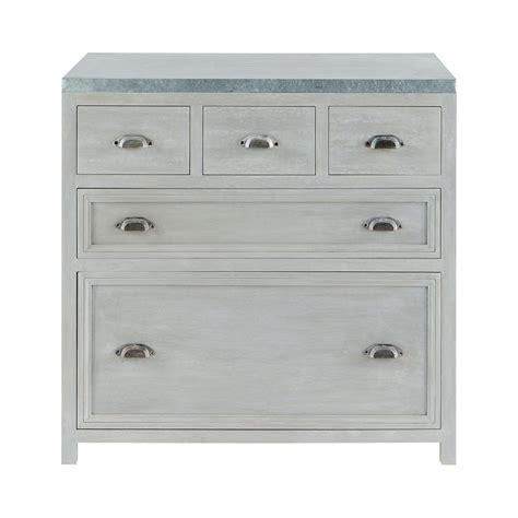 meubles cuisine bas meuble bas de cuisine en bois d 39 acacia gris l 90 cm zinc