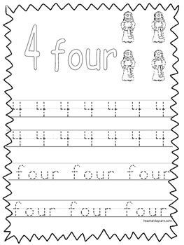 single bible curriculum worksheet trace the number 4