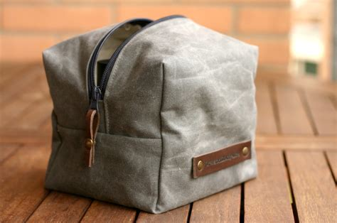 waxed canvas tote bag waxed canvas toiletry toiletry bag fathers day waxed
