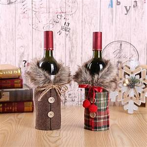 Xmas, Santa, Claus, Grid, Wine, Bottle, Covers, Outfit, Christmas, Decoration, Button, Decor, Red, Wine
