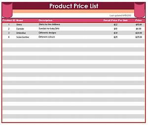 product price list template printable templates With product price list template with pictures