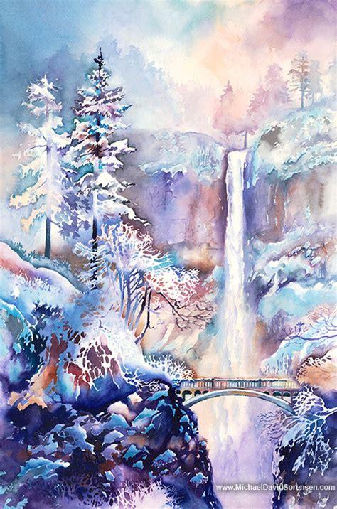 multnomah falls   snow watercolor print multnomah
