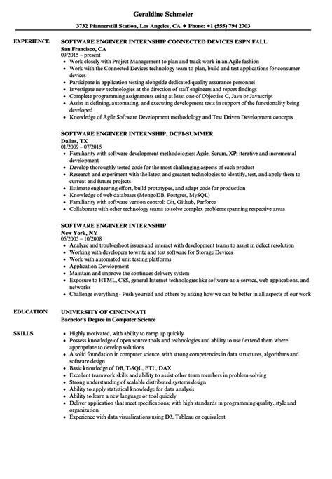 Computer Internship Resume by Software Engineer Internship Resume Sles Velvet