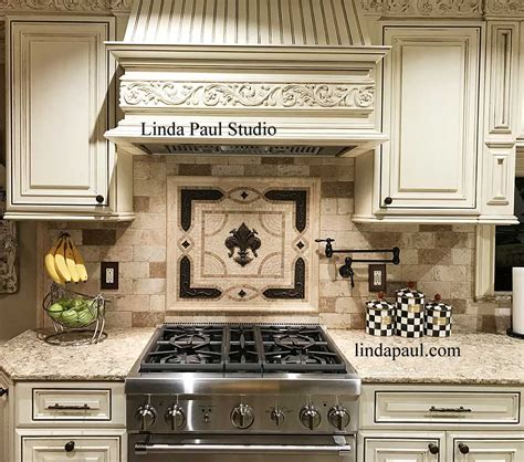 kitchen backsplash metal medallions fleur de lis backsplash tile mosaic medallion mosaics 5048