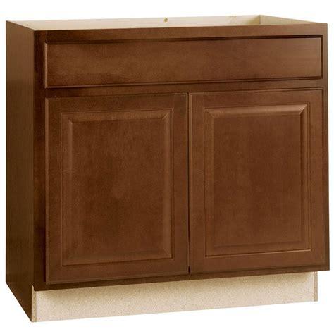 hampton bay hampton assembled xx  sink base kitchen cabinet  cognac ksb