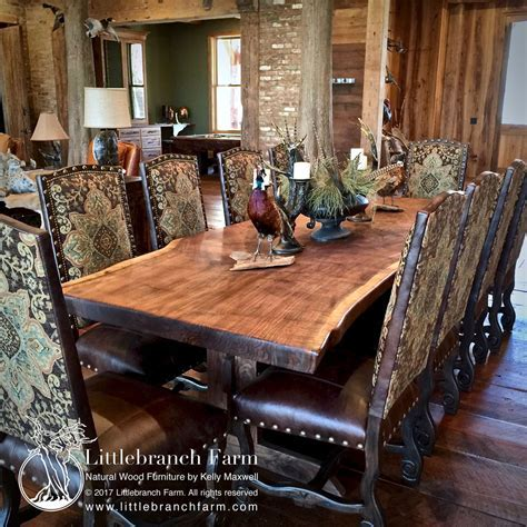 Rustic dining table   live edge wood slabs   Littlebranch Farm