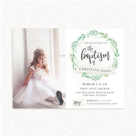 baptism invitation template  photo greenery