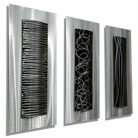 black metal wall decor modern abstract metal black silver wall home decor