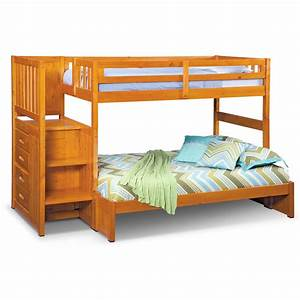 Ranger Twin over Full Bunk Bed with Storage Stairs - Pine ...