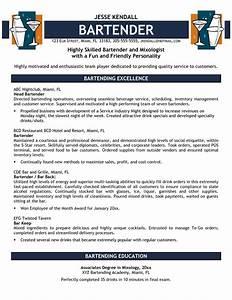 16 free bartender resume templates samplebusinessresume for Free bartender resume templates