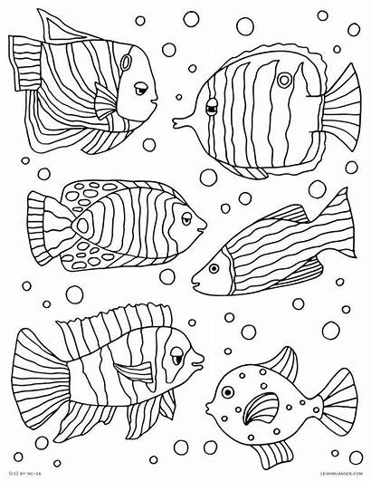 Coloring Fish Pages Tropical Exotic Printable Palette