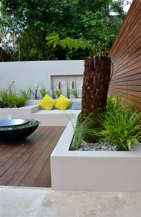 modern garden design outdoor room  kitchen seating