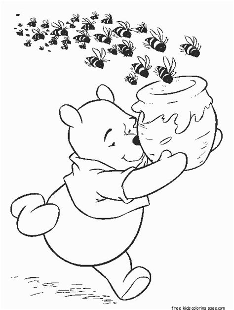 winnie  pooh honey bees cereal coloring page  kidsfree printable coloring pages  kids