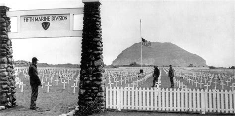 The 5th Marine Division Cemetery On Iwo Jima Stands As A