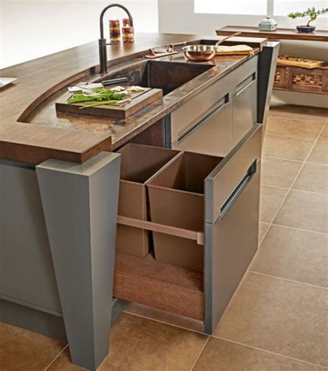 kitchen island with trash storage kitchen pull out trash bins both functional and aesthetical 8277