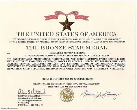 Monica Beltran's Bronze Star Medal With Valor