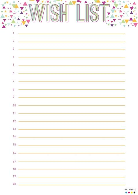 wish list template 6 best images of wish list printable free printable wish list templates printable