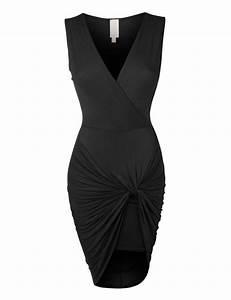 Womens Lightweight Side Draped Bodycon Dress With Stretch