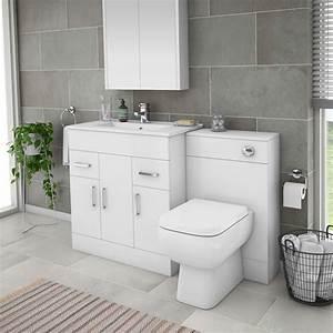 Turin 1300mm Gloss White Vanity Unit Bathroom Suite