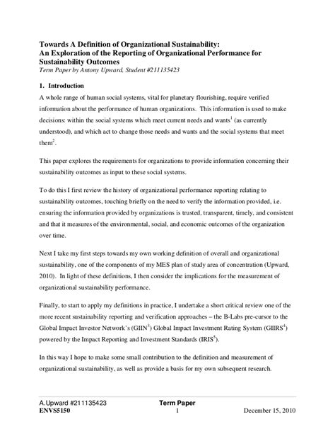 term paper   definition  organizational