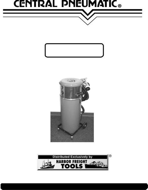Central Pneumatic Air Compressor 95502 User Manual