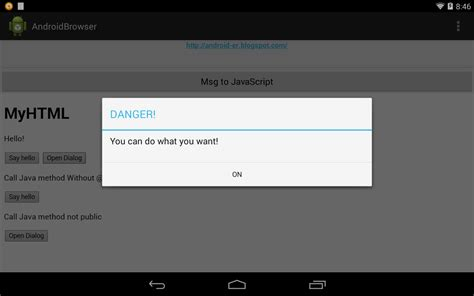 javascript for android android er calling between android java methods and