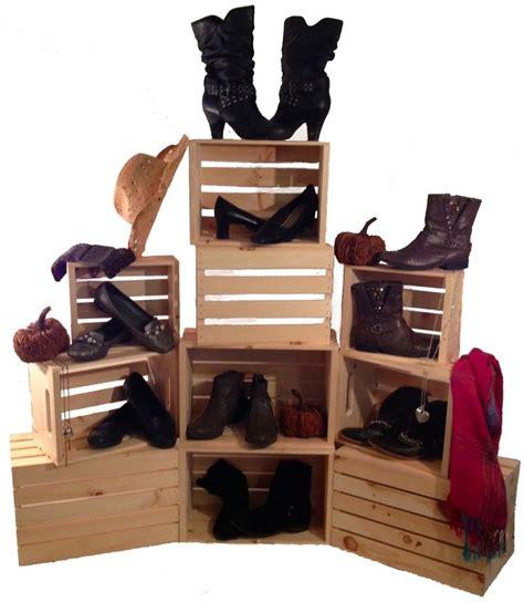 stacking crates set   rustic wood display shelf crates