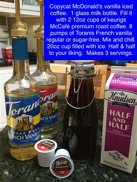 We use dunkin donuts coffee beans (available at most supermarkets in the usa now) we ground at the millstone kona blend or hawaiian blend are also great. Copycat McDonald's vanilla iced coffee. 1 glass milk bottle. Fill it with 2 12oz…   French ...