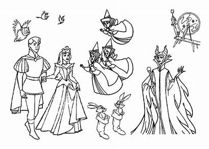 Sleeping Coloring Beauty Pages Fairy Disney Printable