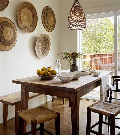 dining room decorating ideas 2013 modern wall decoration with ethnic wicker plates bowls