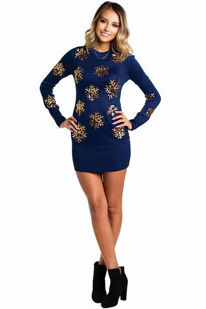 Sweater Christmas Snowflake Gold Navy Sweaters Golden
