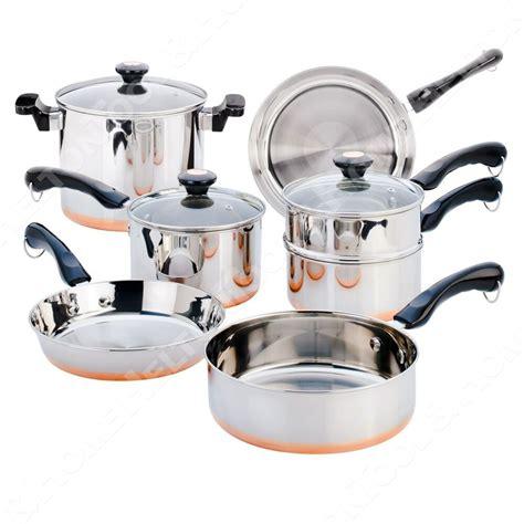 revere copper bottom pc stainless steel cookware set pots  pans wglass lid ebay