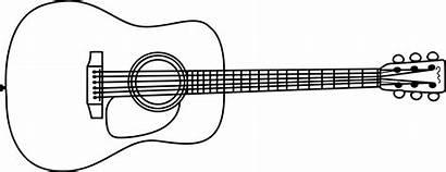 Guitar Drawing Simple Acoustic Clipart Clip Line