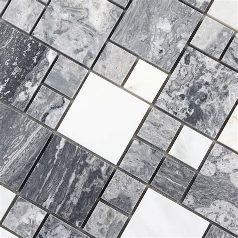 rock tile sheets grey with white mosaic tile sheet