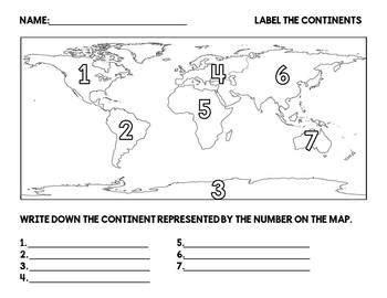 continents label worksheet  lisa battistas classroom tpt