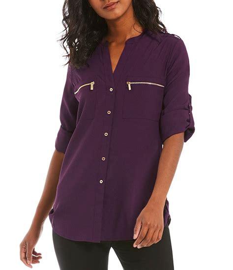 klein blouses calvin klein zip pocket roll tab blouse dillards