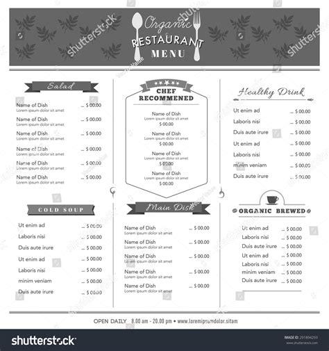 organic food restaurant menu design template stock vector