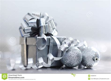 silver christmas gift stock image image 16638191