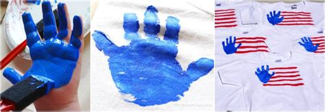 fun diy   july handprint flag  shirts craft idea