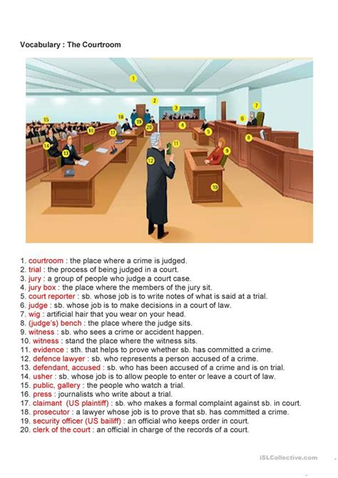 courtroom vocabulary worksheet  esl printable