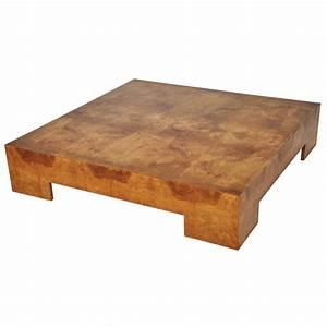 Milo Baughman Low Burl Wood Coffee Table at 1stdibs