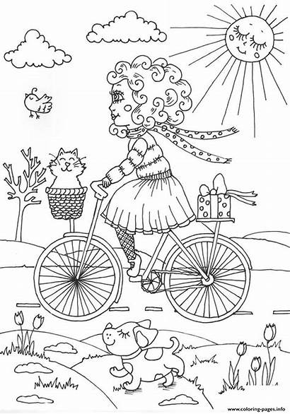 Coloring April Spring Peppy Pages Printable Flowers
