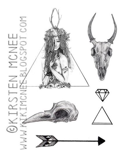 Nature Girl Temporary Tattoos Set Animal Skulls Girls