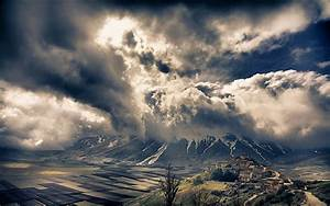 Nature, Landscape, Mountain, Alps, Sky, Clouds, Valley, Italy, Village, Field, Storm, Snowy, Peak