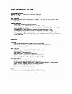 line cook responsibilities resume resume ideas With cook job description for resume