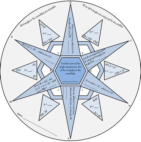 congruent triangles winter snowflake math education