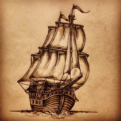 Drawn Ship Sketch Pencil And In Color Drawn Ship Sketch