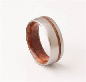 Titanium And Red Wood Mens Wood Rings Wood Wedding