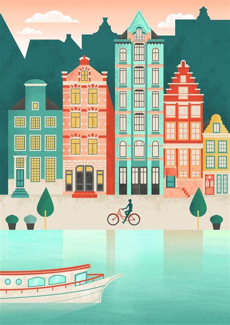 create  amsterdam cityscape  adobe illustrator